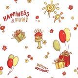 Hälsningen för födelsedagen för modellen för den roliga tecknad filmvektorn bakar ihop den sömlösa, lycka och gyckel, hand-dragit royaltyfri illustrationer