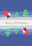 Hälsningjulkort med gulliga Santa Claus stock illustrationer