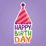 Hälsningklistermärke för lycklig födelsedag Arkivfoto