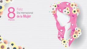Hälsningkort av DIAMETER INTERNATIONELL DE LA MUJER - INTERNATIONELL DAG för KVINNOR S i spanskt språk Kontur av kvinnahuvudet vektor illustrationer