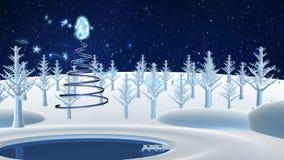 Hälsningkort av glad jul för Feliz Navidad gretting- i det spanska språket - flyg för blå stjärna till och med ett landskap av de lager videofilmer