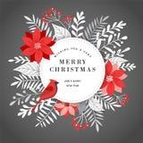 Hälsningkort, baner och bakgrund för glad jul i elegant, modern och klassisk stil med sidor, blommor och fågeln vektor illustrationer