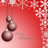 Hälsningkort eller vykort för jul rött med bollar och snöflingor stock illustrationer