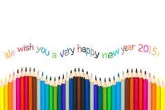 Hälsningkort 2015, färgrika blyertspennor för lyckligt nytt år Royaltyfri Foto