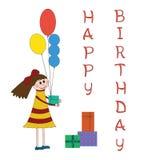Hälsningkort för barnfödelsedagparti Royaltyfria Bilder