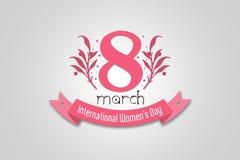 Hälsningkort för blom- design för den internationella dagen för kvinna` s Rosa färgfärgbaner med textmars 8th, dag för kvinna` s Arkivfoto