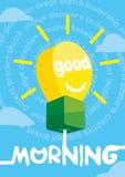 Hälsningkort för bra morgon, affisch, tryck också vektor för coreldrawillustration Royaltyfri Fotografi