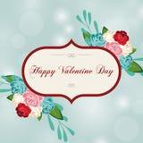 Hälsningkort för dag för valentin` s i en härlig ram Royaltyfri Foto