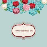 Hälsningkort för dag för valentin` s i en härlig ram Arkivbild