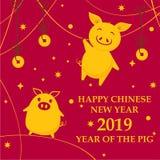 Hälsningkort för det kinesiska nya året 2019 med roliga svin, stjärnor och lyckliga lyckliga mynt på den arga bakgrunden royaltyfri illustrationer