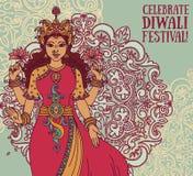Hälsningkort för diwalifestival med den indiska gudinnan Lakshmi och den kungliga prydnaden Arkivfoto