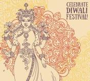 Hälsningkort för diwalifestival med den indiska gudinnan Lakshmi och den kungliga prydnaden Arkivfoton