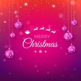 Hälsningkort för glad jul i röda och purpurfärgade färger Vit kontur av flyget Santa Claus med rensläden vektor illustrationer
