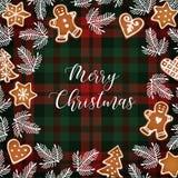 Hälsningkort för glad jul, inbjudan med hand drog julgranfilialer och pepparkakakakor Vit text vektor illustrationer