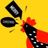 Hälsningkort för glad jul med den ljusa hanen vektor illustrationer