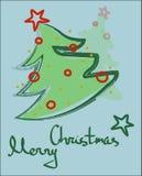 Hälsningkort för glad jul med en julgran royaltyfria foton