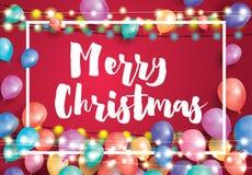 Hälsningkort för glad jul med flygballonger, vit ram vektor illustrationer