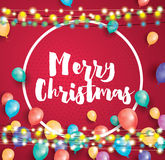 Hälsningkort för glad jul med flygballonger, vit ram royaltyfri illustrationer