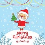 Hälsningkort för glad jul med gullig jultomten. Arkivfoto