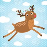 Hälsningkort för glad jul med hjortar. Fotografering för Bildbyråer