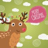 Hälsningkort för glad jul med hjortar. Royaltyfri Fotografi