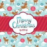 Hälsningkort för glad jul med hjortmodellen. Fotografering för Bildbyråer