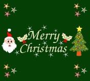 Hälsningkort för glad jul med jultomten och trädet Royaltyfri Fotografi