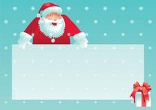 Hälsningkort för glad jul med Santa Claus, gåvaasken och julbokstaven stock illustrationer