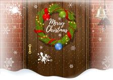 Hälsningkort för glad jul med snöfall och kronan på dörren royaltyfri illustrationer