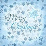 Hälsningkort för glad jul med snöflingor Arkivbilder