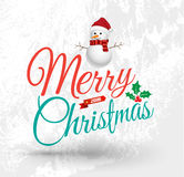 Hälsningkort för glad jul med snömannen Royaltyfri Foto