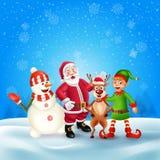 Hälsningkort för glad jul med tecknad filmjultecken stock illustrationer