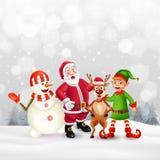 Hälsningkort för glad jul med tecknad filmtecken stock illustrationer