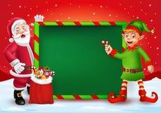 Hälsningkort för glad jul med tecknade filmen Santa Claus och älvan vektor illustrationer