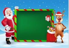 Hälsningkort för glad jul med tecknade filmen Santa Claus och renen stock illustrationer