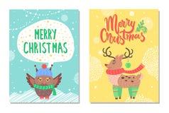Hälsningkort för glad jul med ugglan och hjortar vektor illustrationer