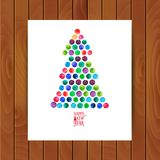 Hälsningkort för glad jul och för lyckligt nytt år, julgran som göras av vattenfärgcirklar VattenfärgXmas-träd på Royaltyfria Bilder