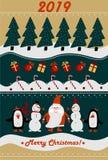 Hälsningkort 2019 för glad jul och för lyckligt nytt år stock illustrationer