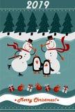 Hälsningkort 2019 för glad jul och för lyckligt nytt år royaltyfri illustrationer