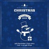 Hälsningkort för glad jul och för lyckligt nytt år, affisch, baner Snögubbe på mörk snöflingamodellbakgrund Royaltyfri Bild