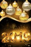 Hälsningkort 2019 för glad jul och för lyckligt nytt år för företag royaltyfri illustrationer
