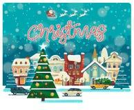 Hälsningkort för glad jul och för lyckligt nytt år i plan stil Arkivbilder