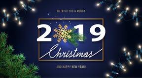 Hälsningkort 2019 för glad jul och för lyckligt nytt år Julbakgrund med säsongönska, skinande guld- snöflinga som är realistisk royaltyfri illustrationer