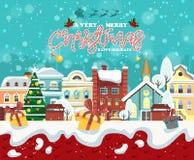 Hälsningkort för glad jul och för lyckligt nytt år med gåvor Fotografering för Bildbyråer