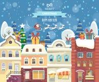 Hälsningkort för glad jul och för lyckligt nytt år med jultomten Royaltyfri Foto