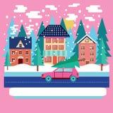 Hälsningkort för glad jul och för vinterferie vektor illustrationer