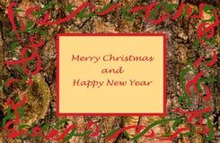 Hälsningkort för jul och för nytt år med trä Royaltyfri Fotografi