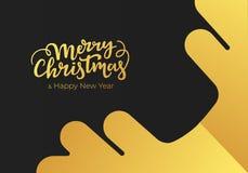 Hälsningkort för jul som och för nytt år göras av svart pappers- bakgrund och dekoreras med guld- bokstäver och snöflingan Vykort stock illustrationer