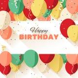 Hälsningkort för lycklig födelsedag i en plan stil stock illustrationer