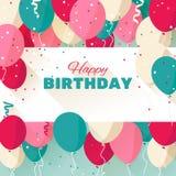 Hälsningkort för lycklig födelsedag i en plan stil royaltyfri illustrationer